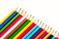 Crayons many pencils for drawing of different colors Stock Photo