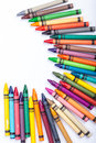 Crayons multicolored on white background Stock Photo