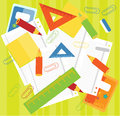 Crayons, rulers,  papers Royalty Free Stock Photo