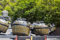 Crazy Barrels in Polynesia area in Port Aventura amusement park in  Spain Royalty Free Stock Photo