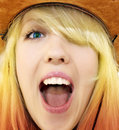 Crazy beauty cowgirl screaming Royalty Free Stock Photos
