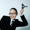 Crazy business woman saluting studio shot portrait of one caucasian young with funnel Royalty Free Stock Photos