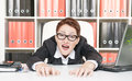 Crazy business woman screaming in glasses Royalty Free Stock Photography