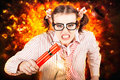 Crazy Business Worker Under Explosive Stress Royalty Free Stock Photography