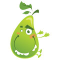 Crazy cartoon green pear fruit character jumping funny jump with teeth and bitten leaf Royalty Free Stock Image