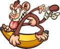 Crazy cartoon monkey skating on an over sized banana Royalty Free Stock Photo