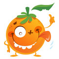 Crazy cartoon orange fruit character making a thumbs up gesture with green leaf face with tongue and thumb Stock Photo