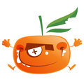 Crazy cartoon orange tangerine fruit character jumping mandarin with green bitten leaf making a face and jumps Royalty Free Stock Images