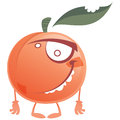 Crazy cartoon pink peach fruit character standing and orange with green bitten leaf making a face Stock Images
