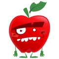 Crazy cartoon red apple fruit character looking at us with funny teeth and green biten leaf standing and staring to camera Royalty Free Stock Photo