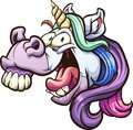 Crazy cartoon unicorn head laughing and neighing Royalty Free Stock Photo