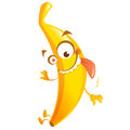 Crazy cartoon yellow banana fruit character go bananas with star eye jumping going Royalty Free Stock Images