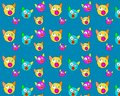 Blue background with many funny cat heads