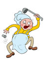 Crazy chef illustration cartoon funny cook dancing with ladle available in vector eps format Royalty Free Stock Image