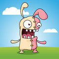Crazy easter bunny a with stitches up his stomach Royalty Free Stock Photo