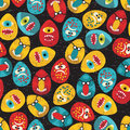 Crazy eggs monsters pattern in retro style seamless vector texture for your background Royalty Free Stock Photography