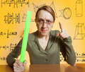 Crazy female teacher Stock Image