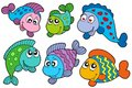 Crazy fishes collection Royalty Free Stock Photo