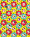 Crazy flowers with faces seamless background vector pattern flora Royalty Free Stock Photos