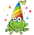 Crazy frog party cartoon on white background Royalty Free Stock Photography