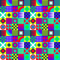 Crazy geometric squares colorful retro vintage shapes pattern Stock Photos