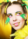 Crazy girl with bright make up