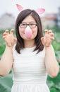 image photo : Crazy girl look like hippo
