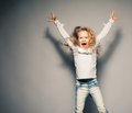 Crazy girl screaming child naughty disobedient kid Stock Images