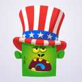 Crazy green cartoon monster wearing Uncle Sam hat. Design character for American Independence Day. Vector illustration for print.