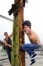Crazy guys on grunge urban background Royalty Free Stock Photo