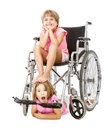 Crazy handicap image for a couple of children expressions and emotions in white background Stock Photo