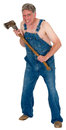 Crazy hick hillybilly axe murder halloween murderer isolated or hillbilly this plumb loco man is ready to commit a and create Stock Image