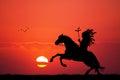 Crazy horse on horseback at sunset Royalty Free Stock Photo