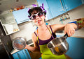 Crazy housewife Stock Photography