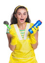 Crazy housewife Stock Photos