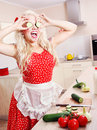 Crazy housewife in the kitchen Royalty Free Stock Image