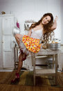Crazy housewife on kitchen cooking Royalty Free Stock Photos