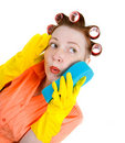 Crazy housewife  maid cleaner with sponge Royalty Free Stock Photos