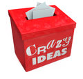 Crazy ideas suggestion box submit funny irregular imposible impr words on a red to your abnormal insane impossible or impractical Stock Photos
