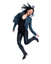 Crazy jumping woman isolated over white background Royalty Free Stock Image