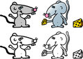 Crazy little mouses with cheese Stock Image