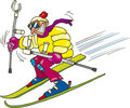 Crazy man skiing Stock Photo