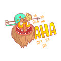 Crazy mature punk rocker with arrow in his head, colorful cartoon illustration