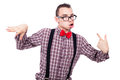 Crazy nerd grimacing man making funny faces isolated on white background Royalty Free Stock Photography