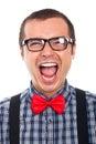 Crazy nerd man laughing Royalty Free Stock Photo
