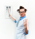 Crazy oculist in the white coat Royalty Free Stock Photography