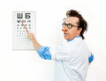 Crazy oculist in the white coat Royalty Free Stock Photo
