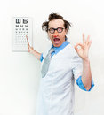 Crazy oculist in the white coat Royalty Free Stock Images