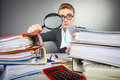 Crazy office lady at desk. Royalty Free Stock Photo