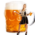 Crazy oktoberfest style with tiroler girl serving beer creation a very beautiful Stock Photos